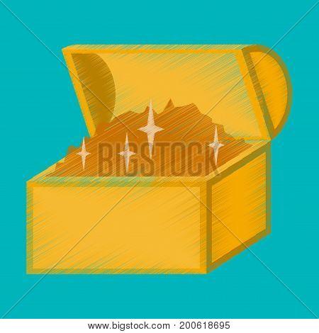 flat shading style icon Treasure chest bitcoin