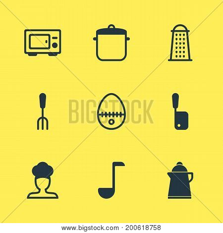 Editable Pack Of Oven, Cook, Soup Pan And Other Elements.  Vector Illustration Of 9 Kitchenware Icons.