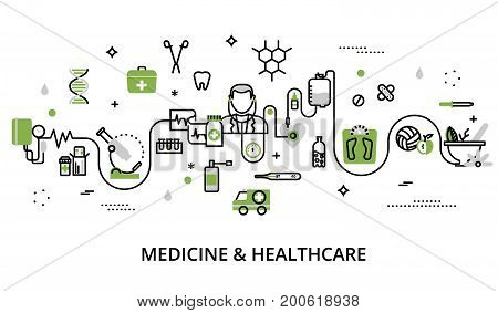 Modern flat thin line design vector illustration greenery concept of medicine and healthcare first aid medical equipment and medicament cure for graphic and web design