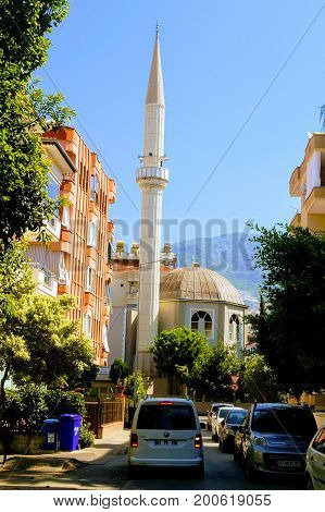 Alanya, Turkey, July 2017: high minarets of the Moslem mosque.
