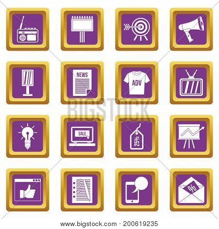 Advertisement icons set in purple color isolated vector illustration for web and any design