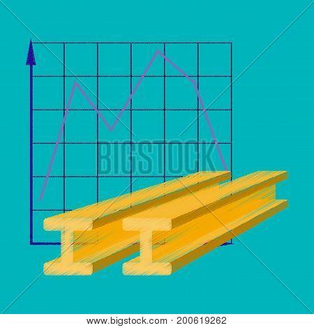 flat shading style icon Falling graph bitcoin