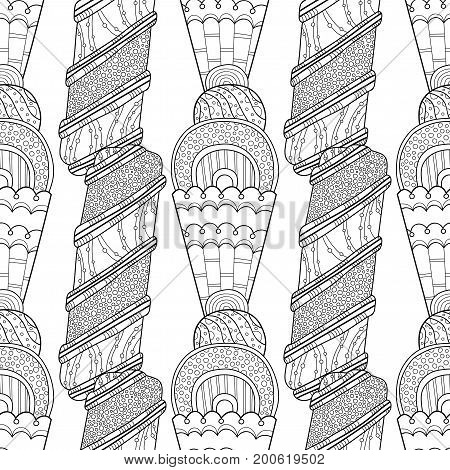 Ice cream, dessert. Black and white illustration for coloring book, pages. Seamless decorative pattern for design. Digital background.