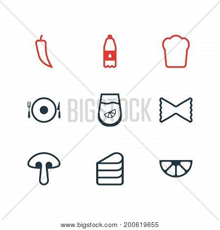 Editable Pack Of Juice, Fungus, Serving And Other Elements.  Vector Illustration Of 9 Eating Icons.