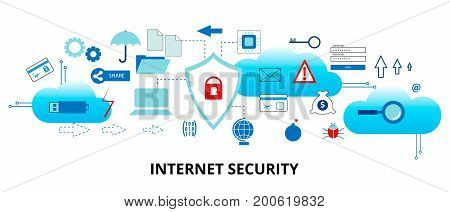 Modern flat thin line design vector illustration infographic concept of internet security and network protection for graphic and web design
