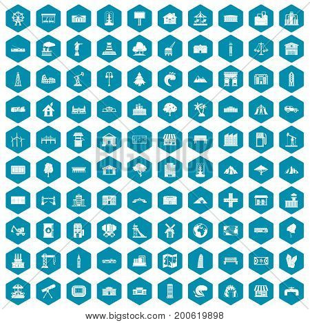 100 landscape element icons set in sapphirine hexagon isolated vector illustration