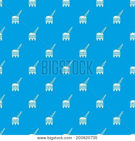 Oil platform pattern repeat seamless in blue color for any design. Vector geometric illustration