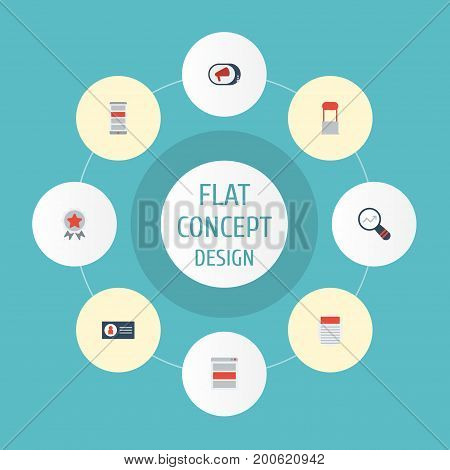 Flat Icons Application, Award, Id And Other Vector Elements