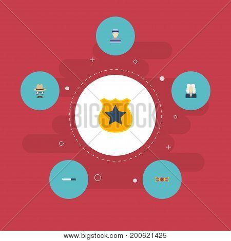 Flat Icons Officer Emblem, Prisoner, Warning Strip And Other Vector Elements