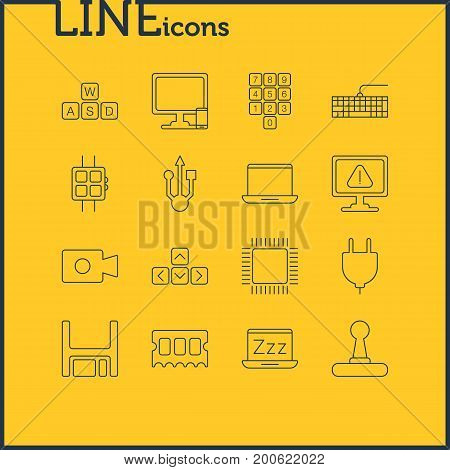 Editable Pack Of Number Keypad, Laptop, Phone Near Computer And Other Elements.  Vector Illustration Of 16 Computer Icons.