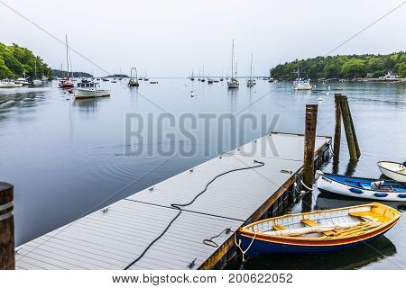 Rockport, Usa - June 9, 2017: Empty Marina Harbor In Small Village In Maine During Rain With Boats A