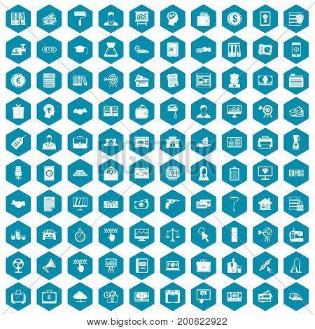 100 lending icons set in sapphirine hexagon isolated vector illustration