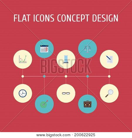 Flat Icons Libra, Contract, Portfolio And Other Vector Elements