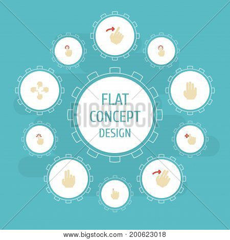 Flat Icons Slide, Touchscreen, Touch And Other Vector Elements