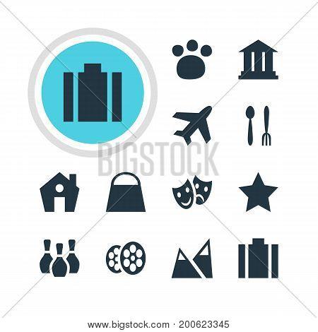 Editable Pack Of Aircraft, Skittles, Handbag Elements.  Vector Illustration Of 12 Travel Icons.