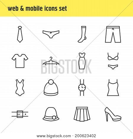 Editable Pack Of Hosiery, Swimwear, Strap And Other Elements.  Vector Illustration Of 16 Clothes Icons.