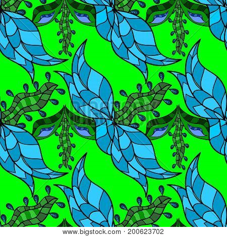 Ornamental floral elements with henna tattoo green stickers mehndi and yoga design cards and prints. Pattern on colorful background. Vector green mehndi seamless pattern.