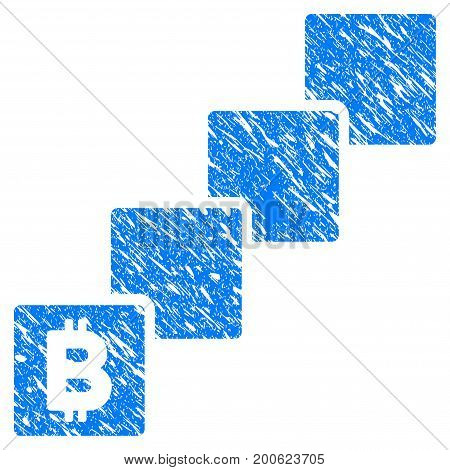 Grunge Bitcoin Blockchain rubber seal stamp watermark. Icon symbol with grunge design and scratched texture. Unclean vector blue emblem.