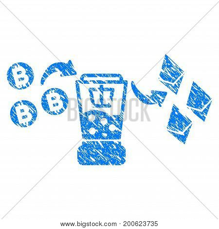 Grunge Bitcoin Etherium Mixer rubber seal stamp watermark. Icon symbol with grunge design and dirty texture. Unclean vector blue emblem.