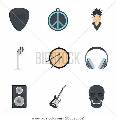 Rock equipment icon set. Flat set of 9 rock equipment vector icons for web isolated on white background