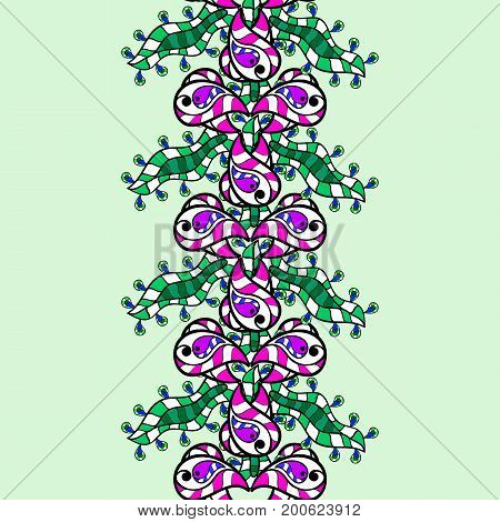 Blue colored with floral pattern. Seamless green pattern. Vector green floral ornament brocade textile and glass pattern. Background with green elements.