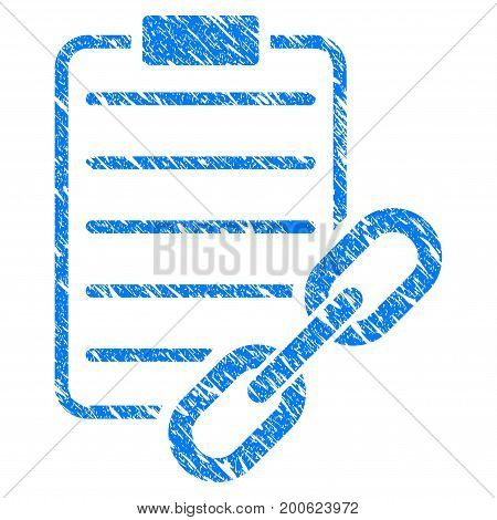 Grunge Blockchain Contract rubber seal stamp watermark. Icon symbol with grunge design and dirty texture. Unclean vector blue emblem.