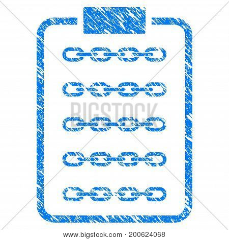 Grunge Blockchain List Page rubber seal stamp watermark. Icon symbol with grunge design and dust texture. Unclean vector blue sticker.