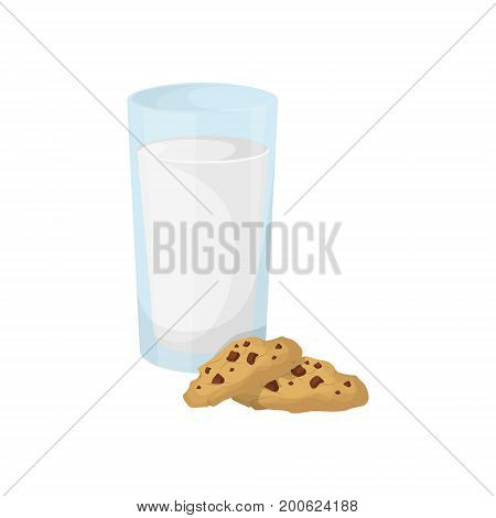 Milk with cookies on white background. Breakfast sweet and nutritious meal.