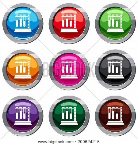 Medical test tubes in holder set icon isolated on white. 9 icon collection vector illustration
