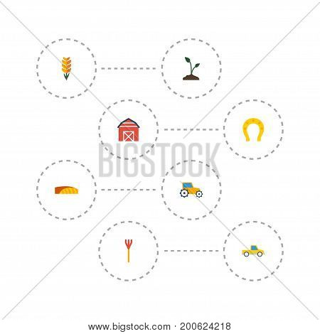 Flat Icons Cultivator, Field, Grain And Other Vector Elements