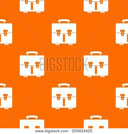 Diplomat bag pattern repeat seamless in orange color for any design. Vector geometric illustration