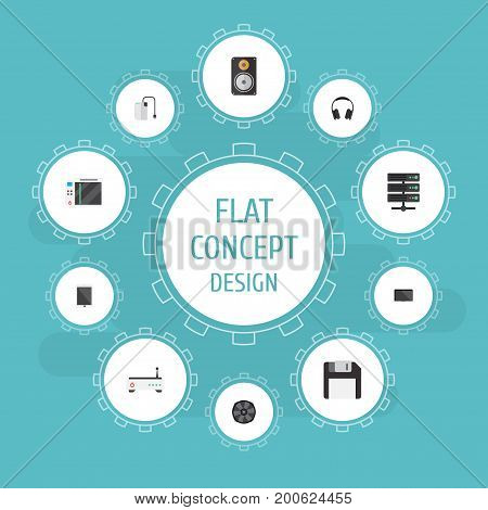 Flat Icons Slot Machine, Cooler, Storage Device And Other Vector Elements