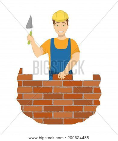 Isolated builder bricklayer with spatula and hard hat on white background.