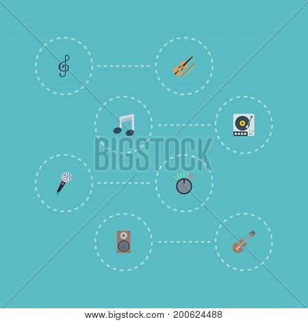 Flat Icons Tone Symbol, Turntable, Fiddle And Other Vector Elements