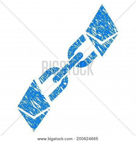 Grunge Ethereum Blockchain rubber seal stamp watermark. Icon symbol with grunge design and scratched texture. Unclean vector blue emblem.