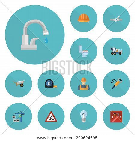 Flat Icons Hoisting Machine, Worker, Bulb And Other Vector Elements