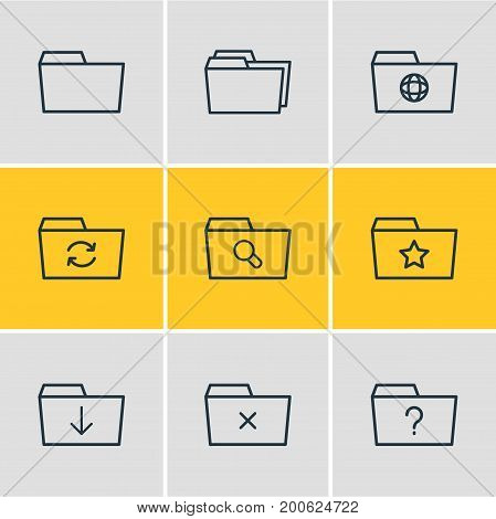 Editable Pack Of Document Case, Remove, Folders And Other Elements.  Vector Illustration Of 9 Document Icons.