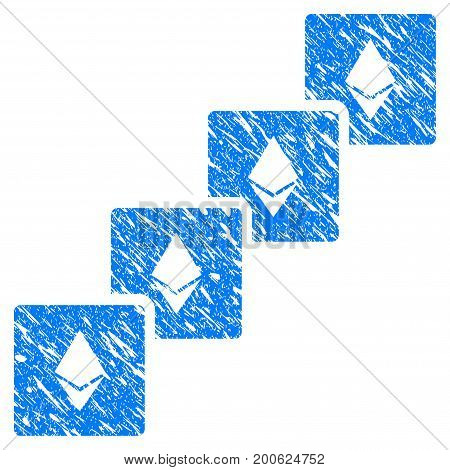 Grunge Ethereum Blockchain rubber seal stamp watermark. Icon symbol with grunge design and dirty texture. Unclean vector blue sign.