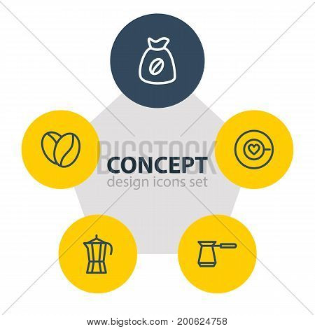 Editable Pack Of Coffeemaker, Seed, Bag And Other Elements.  Vector Illustration Of 5 Drink Icons.