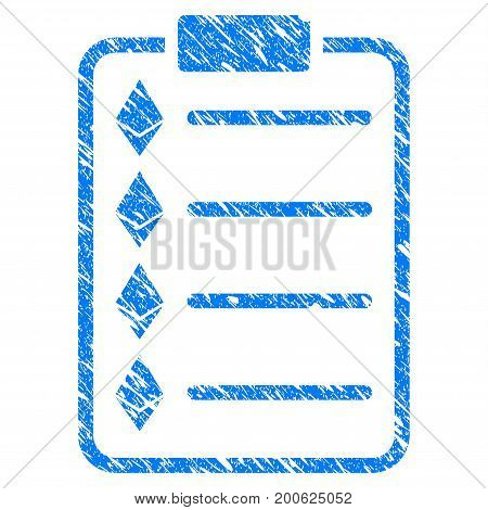 Grunge Ethereum List rubber seal stamp watermark. Icon symbol with grunge design and dust texture. Unclean vector blue emblem.