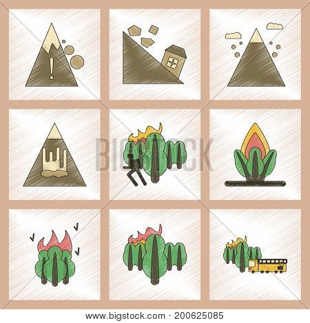 assembly flat shading style icon of danger natural disasters