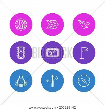 Editable Pack Of World, Origami, Place And Other Elements.  Vector Illustration Of 9 Location Icons.