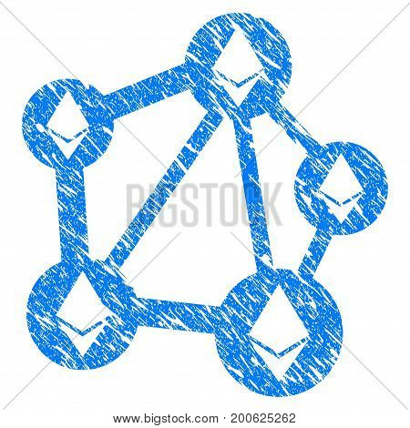 Grunge Ethereum Network rubber seal stamp watermark. Icon symbol with grunge design and scratched texture. Unclean vector blue emblem.