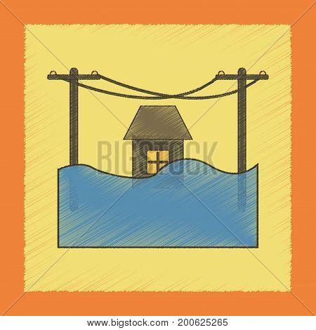 flat shading style icon of flood house