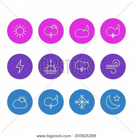 Editable Pack Of Snow, Fulminant, Breeze And Other Elements.  Vector Illustration Of 12 Weather Icons.
