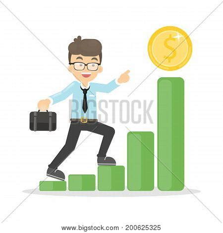 Businessman raises up to the money coin to achieve goals and success.