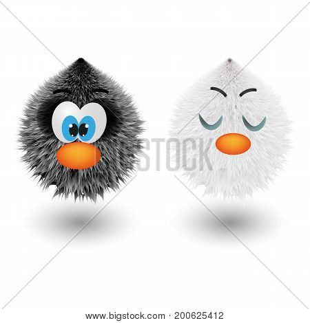 Funny cartoon colorful shaggy balls with eyes. Cute fluffy round fur characters set. Hair monsters with different emotions. Cute game assets vector illustration