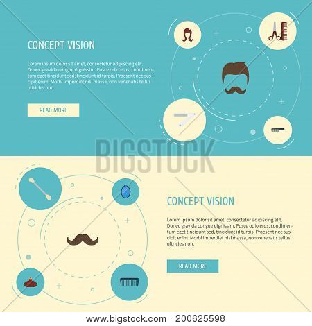 Flat Icons Perfume, Cotton Buds, Moustache And Other Vector Elements