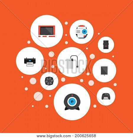 Flat Icons Cooler, Presentation, System Unit And Other Vector Elements