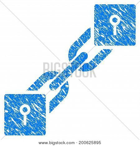Grunge Locker Blockchain rubber seal stamp watermark. Icon symbol with grunge design and scratched texture. Unclean vector blue sticker.